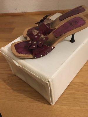 Buffalo Heel Pantolettes bordeaux leather