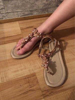 Buffalo High-Heeled Toe-Post Sandals rose-gold-coloured
