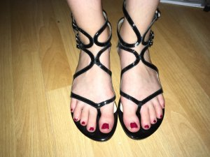Buffalo Strapped Sandals black leather
