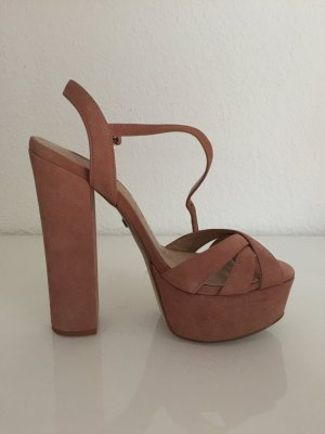 Buffalo London Platform High-Heeled Sandal nude-dusky pink suede