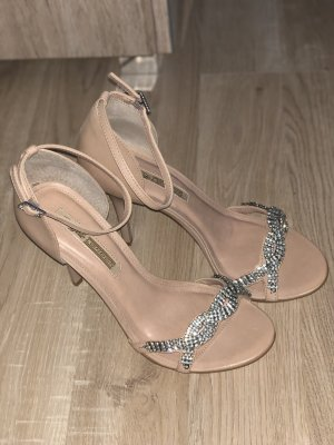 Buffalo London Strapped High-Heeled Sandals nude-silver-colored
