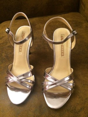 Buffalo High-Heeled Sandals light grey leather