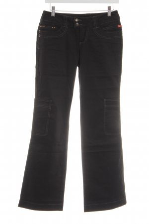 Buffalo Broek met wijd uitlopende pijpen zwart simpele stijl