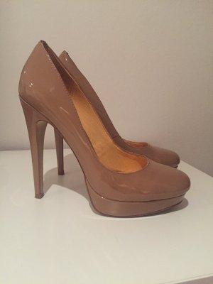 Buffalo Schuhe aus echtem Leder nude Gr 38 wie neu High heels plateau Pumps