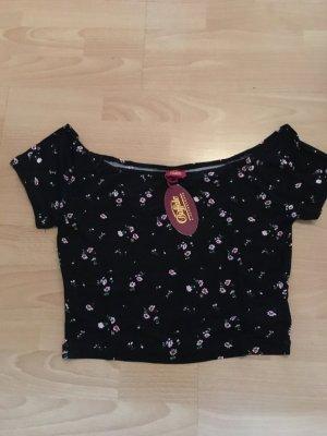 Buffalo Shirt T-Shirt Crop Top schwarz Blumen S 36 38 neu Etikett
