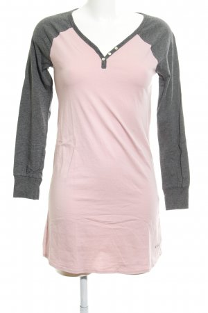 Buffalo T-shirt jurk stoffig roze-donkergrijs casual uitstraling
