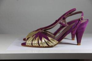 Buffalo Sling Pumps, sehr edel, Jewel-Töne, lila gold, Gr. 36