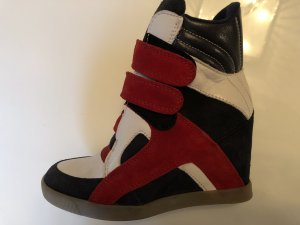 Buffalo Sneaker Wedges Plateau Echtleder 38 blau rot weiß neu