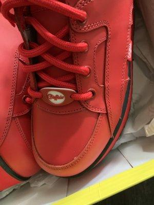 Buffalo Heel Sneakers brick red leather