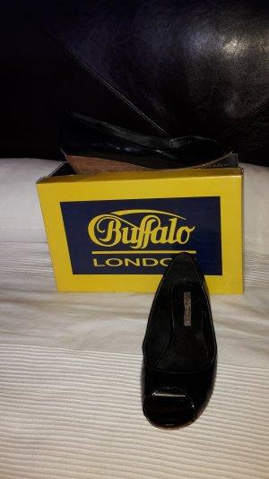 Buffalo Bailarinas con tacón con punta abierta negro Cuero