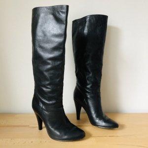 Buffalo Stiefel Gr  37 schwarz Lederstiefel Highheels Leder Schaftstiefel