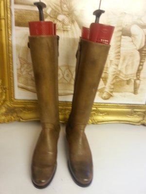 Buffalo Stiefel Gr. 38 im Reiterlook, grau-braun, Reißverschluss und Zierschnalle