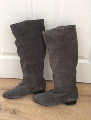 Buffalo Stiefel grau beige braun Veloursleder Wildleder Reißverschluss Gr. 38 neu