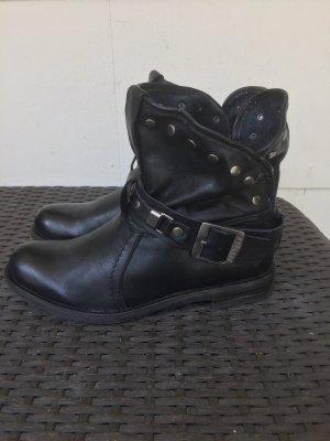 Buffalo Stiefel Nieten gr 39 schwarz Biker Echt Leder