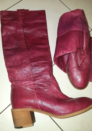 Buffalo Heel Boots raspberry-red leather