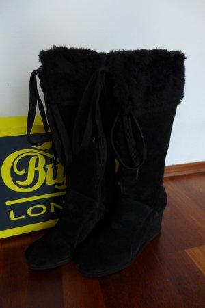 Buffalo Stiefel Wedges Keilabsatz schwarz Wildlederimitat Gr. 39 neu