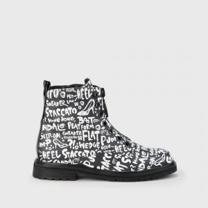 Buffalo Chelsea Boots black-white synthetic material