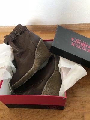 Buffalo Stiefeletten braun Leder Keilstiefeletten Boots Keilboots Keilabsatz