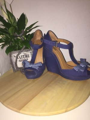 Stradivarius Wedge Sandals blue