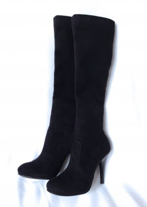 BUFFALO Stretch Stiefel High Heels Velour black – 36