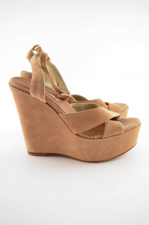 Buffalo Wedge Sandals dusky pink-beige leather