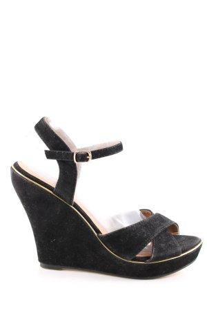 Buffalo Wedges Sandaletten schwarz Casual-Look