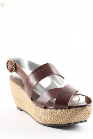 Buffalo Wedge Sandals dark brown-beige Boho look