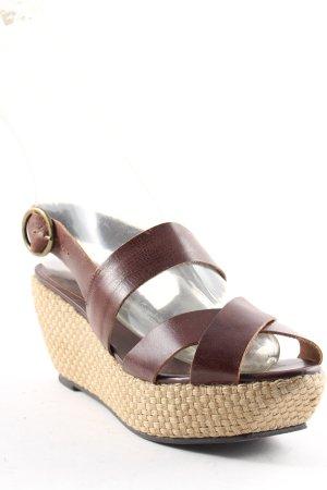 Buffalo Wedge Sandals dark brown-beige Boho look