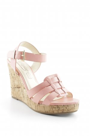 Buffalo Wedge Sandals pink-cream minimalist style