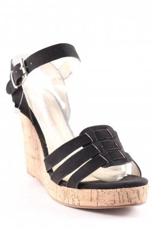 Buffalo Wedges Sandaletten schwarz-hellbeige klassischer Stil