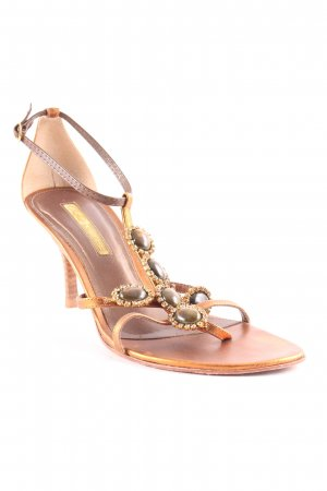 Buffalo High-Heeled Toe-Post Sandals cognac-coloured-gold-colored elegant