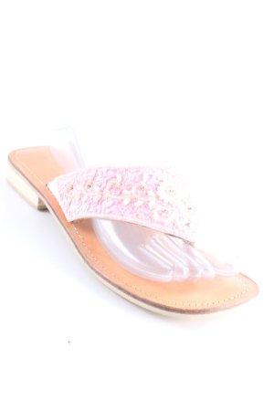 Buffalo Zehentrenner-Sandalen nude-rosa florales Muster extravaganter Stil