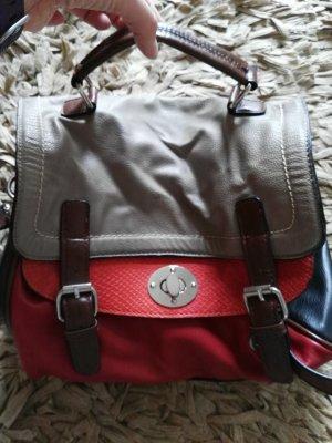Bugatti Handtasche 4 farbig, Leder, rot beige
