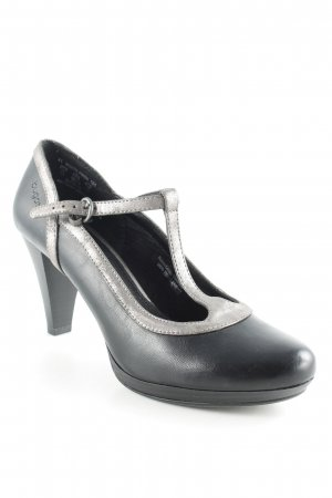 Bugatti Mary Jane Pumps schwarz-silberfarben Country-Look