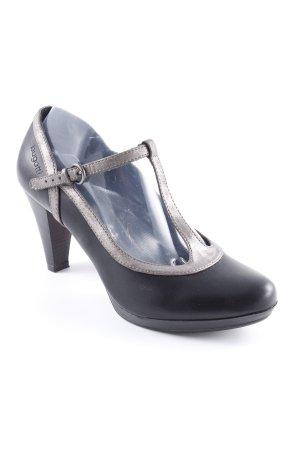 Bugatti Zapatos de tacón con barra en T negro-color plata