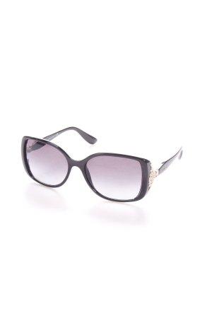 Bulgari eckige Sonnenbrille schwarz Glitzersteinverzierung