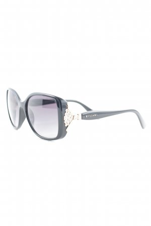 Bulgari eckige Sonnenbrille schwarz-roségoldfarben Elegant