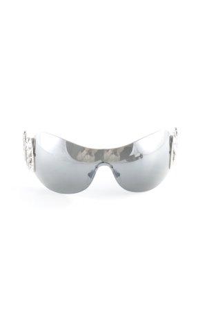 Bulgari ovale Sonnenbrille grau-weiß extravaganter Stil