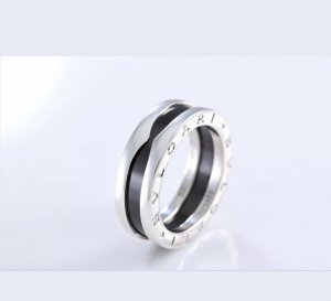 Bulgari Zilveren ring zwart-lichtgrijs