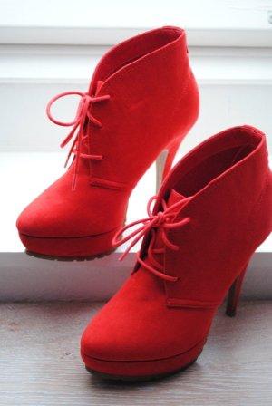 BULLBOXER Ankle Boots rot Schnür Pumps Hochfrontpumps Stiefeletten
