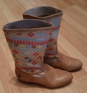 Bullboxer Boots wie neu! Azteken Muster, Ethnologen, braun