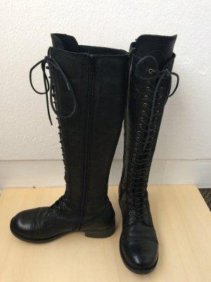 Bullboxer Lederstiefel schwarz Stiefel Echtleder Gr. 37 vorne geschnürt! Top Zustand!