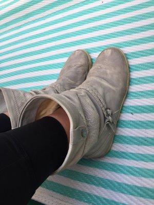 Bullboxer ++ only Leder Boots hellgrau + Schlupfstiefel