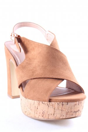 Bullboxer Platform High-Heeled Sandal cognac-coloured-rose-gold-coloured