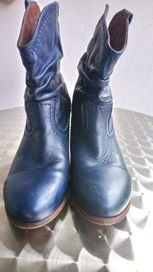 BULLBOXER Stiefel Leder blau Used look, Gr. 39