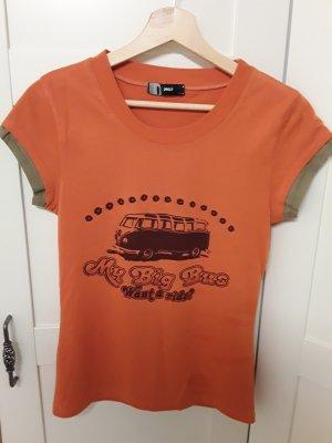 Bulli Shirt von ONLY, Gr S, orange mit Aufdruck