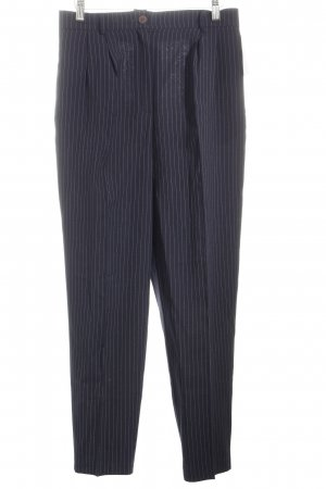 Pleated Trousers dark blue-white pinstripe business style