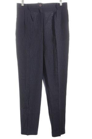 Pantalon à pinces bleu foncé-blanc rayure fine style d'affaires