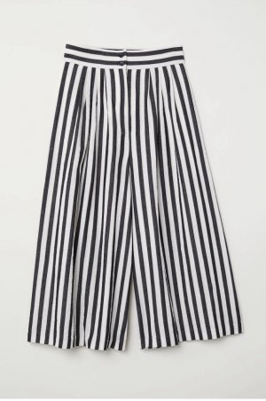 H&M Pleated Trousers black-oatmeal