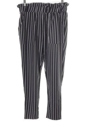 Pantalon à pinces noir-blanc motif rayé style décontracté